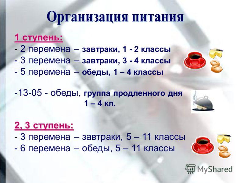 1 ступень: - 2 перемена – завтраки, 1 - 2 классы - 3 перемена – завтраки, 3 - 4 классы - 5 перемена – обеды, 1 – 4 классы -13-05 - обеды, группа продленного дня 1 – 4 кл. 2, 3 ступень: - 3 перемена – завтраки, 5 – 11 классы - 6 перемена – обеды, 5 –