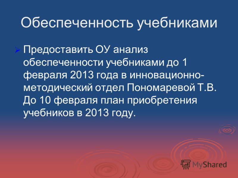 Обеспеченность учебниками Предоставить ОУ анализ обеспеченности учебниками до 1 февраля 2013 года в инновационно- методический отдел Пономаревой Т.В. До 10 февраля план приобретения учебников в 2013 году.