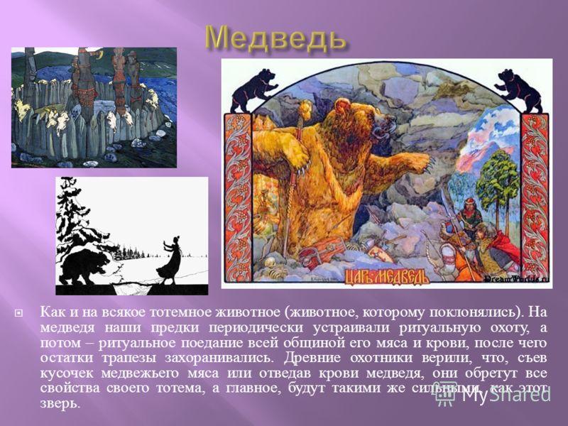 Как и на всякое тотемное животное ( животное, которому поклонялись ). На медведя наши предки периодически устраивали ритуальную охоту, а потом – ритуальное поедание всей общиной его мяса и крови, после чего остатки трапезы захоранивались. Древние охо