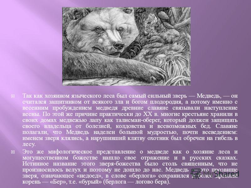 Так как хозяином языческого леса был самый сильный зверь Медведь, он считался защитником от всякого зла и богом плодородия, а потому именно с весенним пробуждением медведя древние славяне связывали наступление весны. По этой же причине практически до