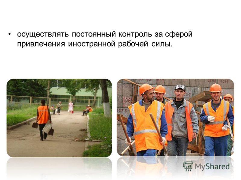 осуществлять постоянный контроль за сферой привлечения иностранной рабочей силы.