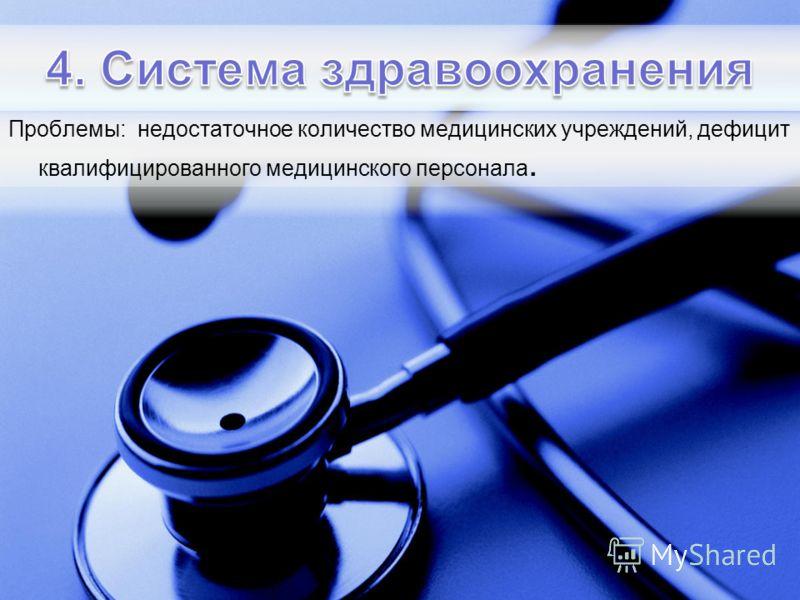 Проблемы: недостаточное количество медицинских учреждений, дефицит квалифицированного медицинского персонала.
