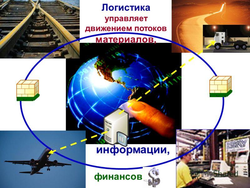 Логистика управляет движением потоков материалов, финансов информации,