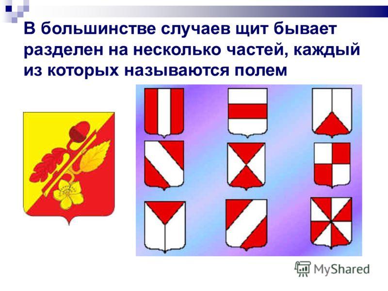 В большинстве случаев щит бывает разделен на несколько частей, каждый из которых называются полем