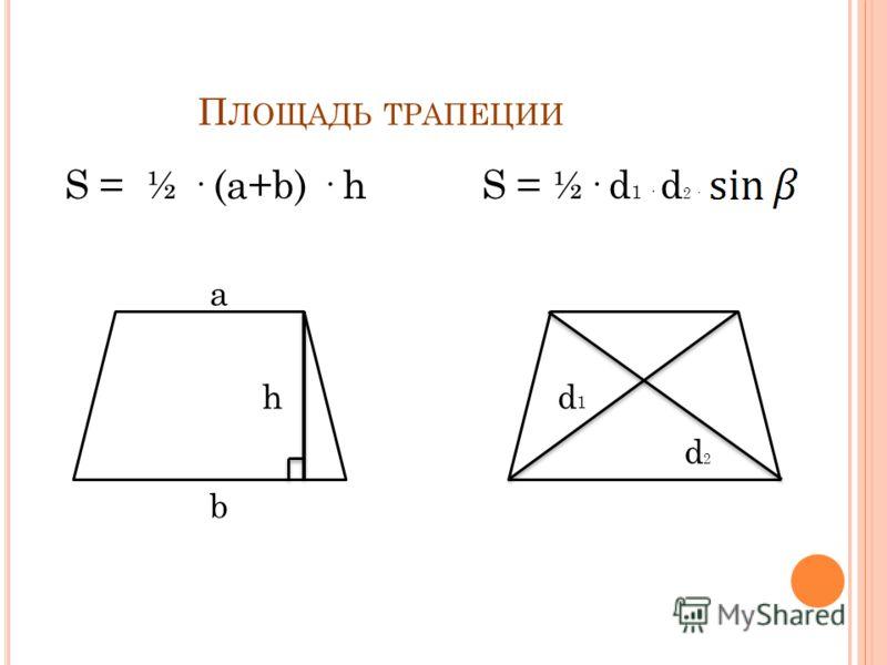О БЩИЕ СВОЙСТВА Средняя линия трапеции параллельна основаниям и равна их полусумме. Отрезок, соединяющий середины диагоналей, равен полуразности оснований. Параллельные прямые, пересекающие стороны угла, отсекают от сторон угла пропорциональные отрез