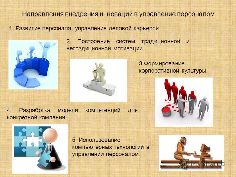 Направления внедрения инноваций в управление персоналом 1. Развитие персонала, управление деловой карьерой. 2. Построение систем традиционной и нетрадиционной мотивации. 3.Формирование корпоративной культуры. 4. Разработка модели компетенций для конк