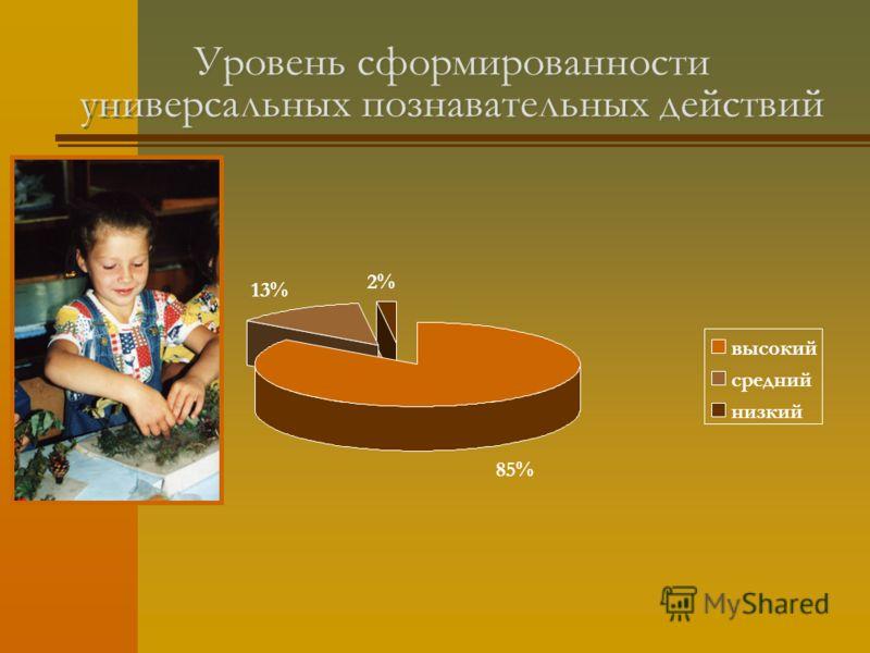 Уровень сформированности универсальных познавательных действий 85% 13% 2% высокий средний низкий