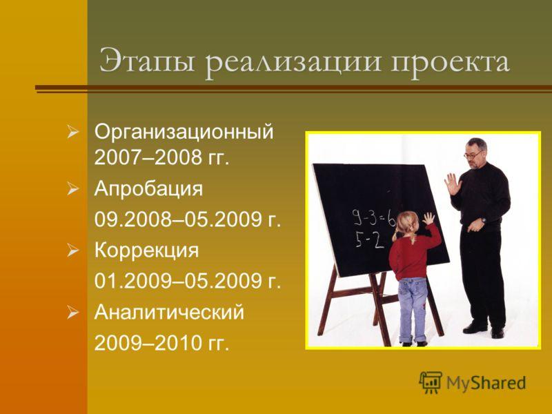 Этапы реализации проекта Организационный 2007–2008 гг. Апробация 09.2008–05.2009 г. Коррекция 01.2009–05.2009 г. Аналитический 2009–2010 гг.