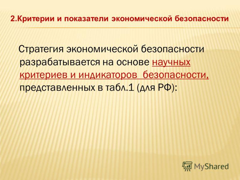 Стратегия экономической безопасности разрабатывается на основе научных критериев и индикаторов безопасности, представленных в табл.1 (для РФ):
