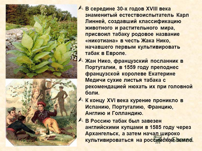 В середине 30-х годов XVIII века знаменитый естествоиспытатель Карл Линней, создавший классификацию животного и растительного мира, присвоил табаку родовое название «никотиана» в честь Жака Нико, начавшего первым культивировать табак в Европе. Жан Ни