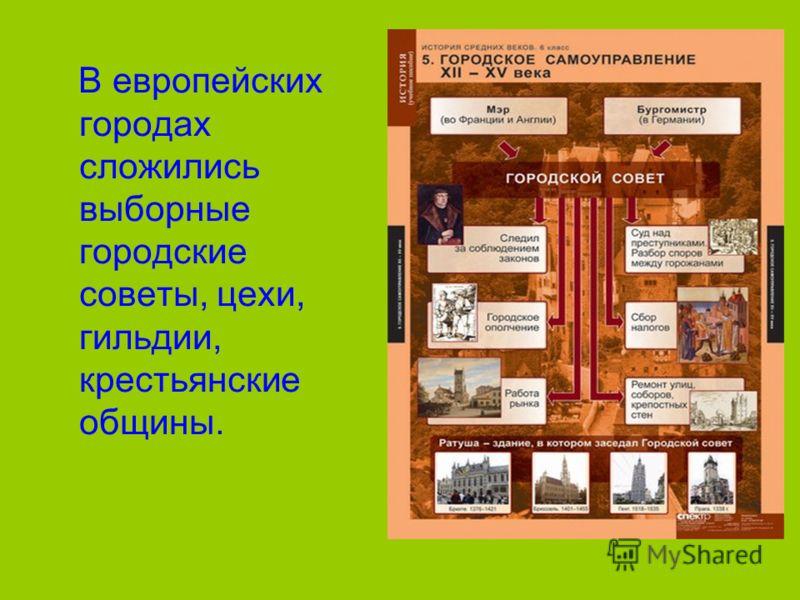 В европейских городах сложились выборные городские советы, цехи, гильдии, крестьянские общины.