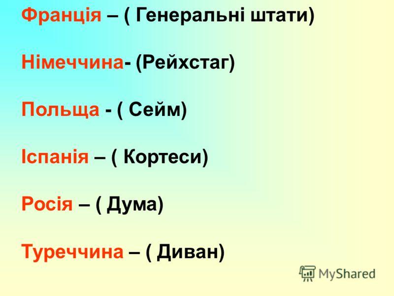 Франція – ( Генеральні штати) Німеччина- (Рейхстаг) Польща - ( Сейм) Іспанія – ( Кортеси) Росія – ( Дума) Туреччина – ( Диван)