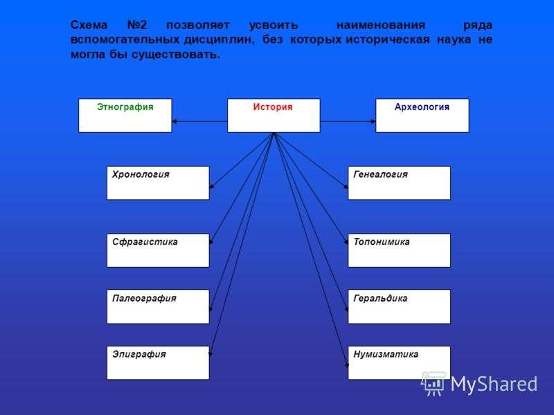 Схема 2 позволяет усвоить наименования ряда вспомогательных дисциплин, без которых историческая наука не могла бы существовать. ЭтнографияИсторияАрхеология ХронологияГенеалогия СфрагистикаТопонимика ПалеографияГеральдика ЭпиграфияНумизматика