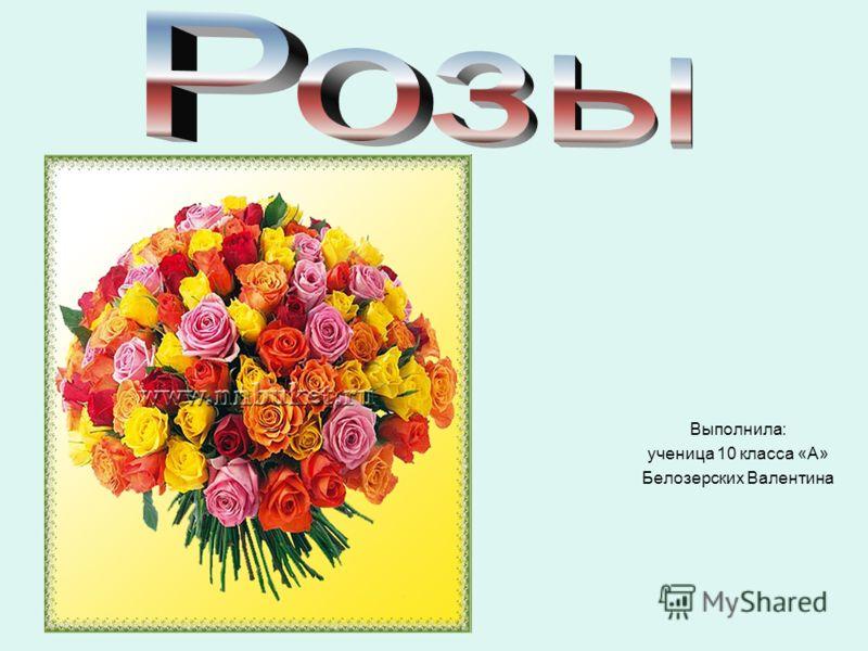Выполнила: ученица 10 класса «А» Белозерских Валентина