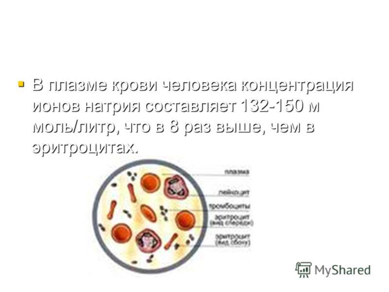 В плазме крови человека концентрация ионов натрия составляет 132-150 м моль/литр, что в 8 раз выше, чем в эритроцитах. В плазме крови человека концентрация ионов натрия составляет 132-150 м моль/литр, что в 8 раз выше, чем в эритроцитах.