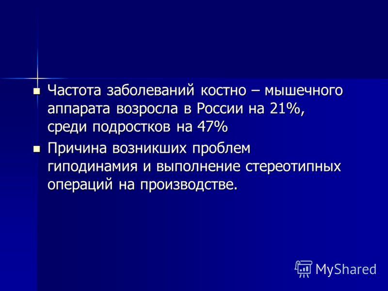 Частота заболеваний костно – мышечного аппарата возросла в России на 21%, среди подростков на 47% Частота заболеваний костно – мышечного аппарата возросла в России на 21%, среди подростков на 47% Причина возникших проблем гиподинамия и выполнение сте