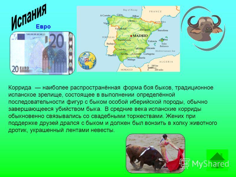 Коррида наиболее распространённая форма боя быков, традиционное испанское зрелище, состоящее в выполнении определённой последовательности фигур с быком особой иберийской породы, обычно завершающееся убийством быка. В средние века испанские корриды об