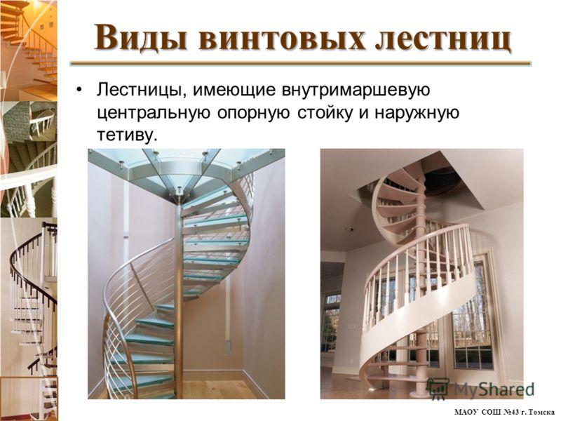 МАОУ СОШ 43 г. Томска Лестницы, имеющие внутримаршевую центральную опорную стойку и наружную тетиву. Виды винтовых лестниц