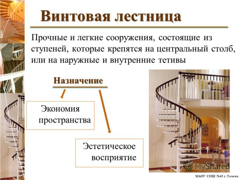 МАОУ СОШ 43 г. Томска Прочные и легкие сооружения, состоящие из ступеней, которые крепятся на центральный столб, или на наружные и внутренние тетивы Винтовая лестница Эстетическое восприятие Назначение Экономия пространства