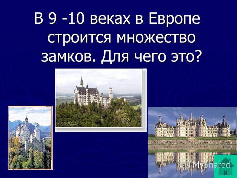 В 9 -10 веках в Европе строится множество замков. Для чего это?