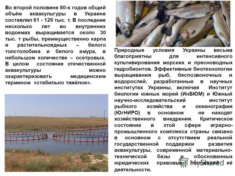 Природные условия Украины весьма благоприятны для интенсивного культивирования морских и пресноводных гидробионтов. Эффективные биотехнологии выращивания рыб, беспозвоночных и водорослей, разработанные в научных институтах Украины, включая Институт б