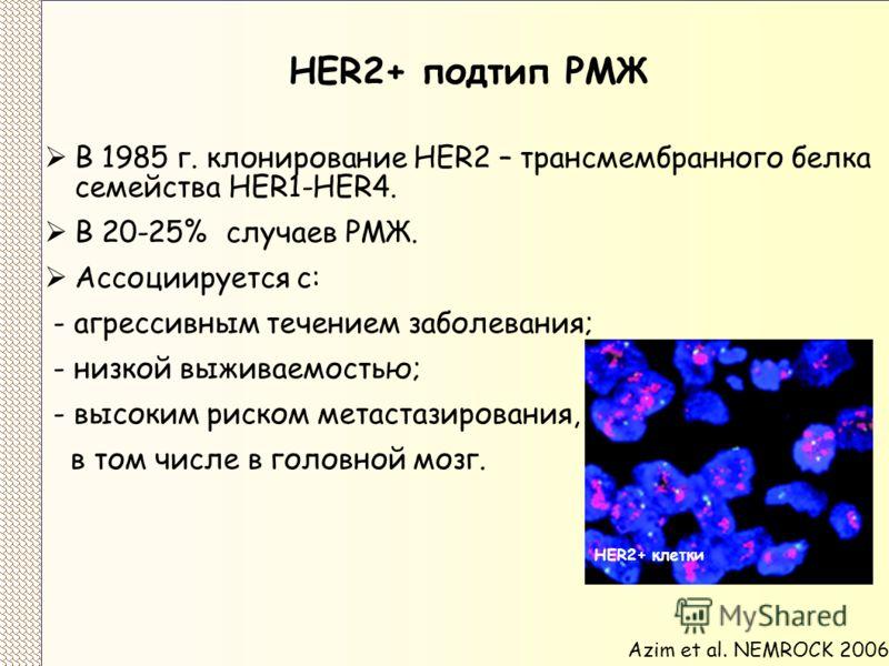 HER2+ подтип РМЖ В 1985 г. клонирование HER2 – трансмембранного белкa семейства HER1-HER4. В 20-25% случаев РМЖ. Ассоциируется с: - агрессивным течением заболевания; - низкой выживаемостью; - высоким риском метастазирования, в том числе в головной мо