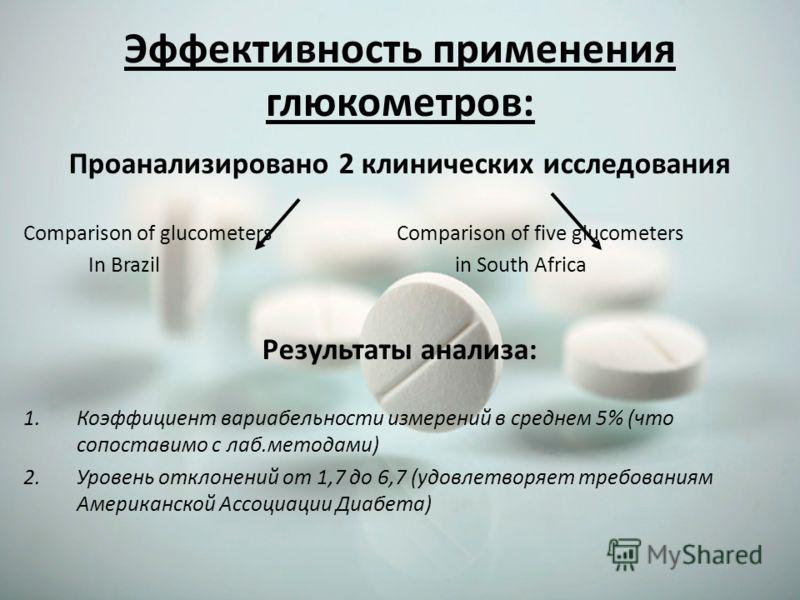 Эффективность применения глюкометров: Проанализировано 2 клинических исследования Comparison of glucometers Comparison of five glucometers In Brazil in South Africa Результаты анализа: 1.Коэффициент вариабельности измерений в среднем 5% (что сопостав