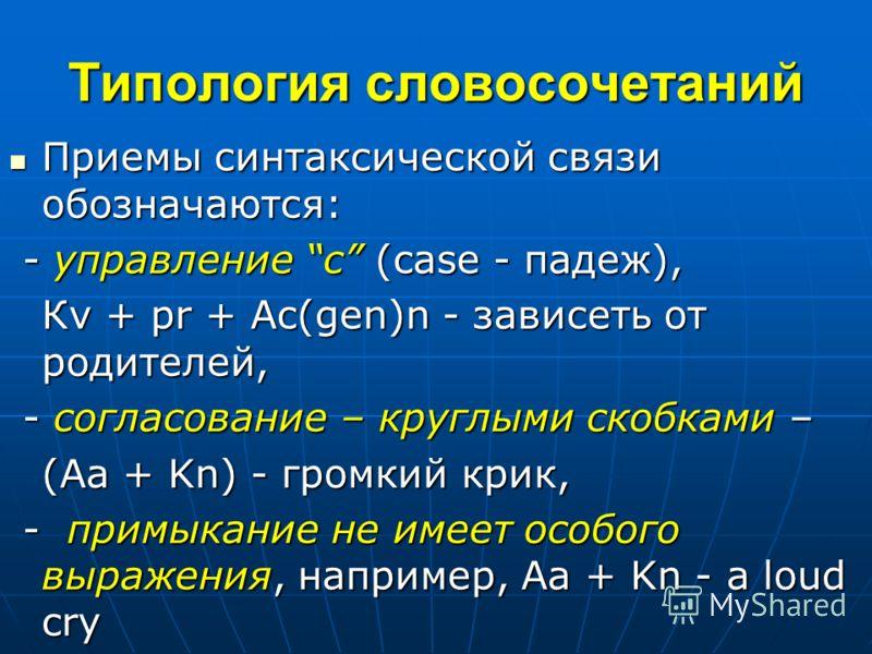 Типология словосочетаний Приемы синтаксической связи обозначаются: Приемы синтаксической связи обозначаются: - управление c (case - падеж), - управление c (case - падеж), Кv + pr + Ac(gen)n - зависеть от родителей, - согласование – круглыми скобками