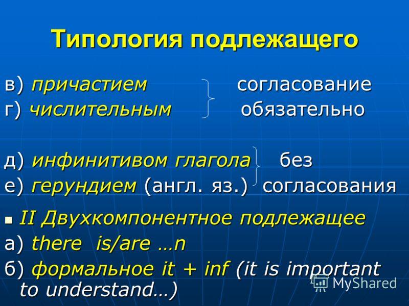 Типология подлежащего в) причастием согласование г) числительным обязательно д) инфинитивом глагола без е) герундием (англ. яз.) cогласования II Двухкомпонентное подлежащее II Двухкомпонентное подлежащее а) there is/are …n б) формальное it + inf (it