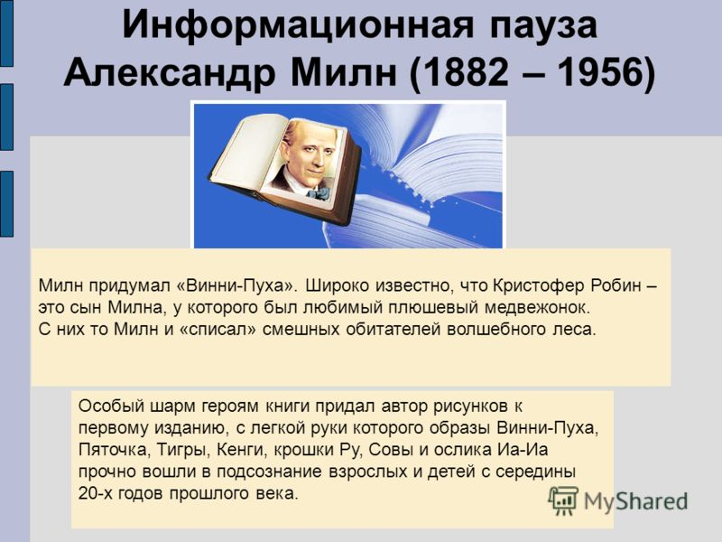 Информационная пауза Александр Милн (1882 – 1956) Милн придумал «Винни-Пуха». Широко известно, что Кристофер Робин – это сын Милна, у которого был любимый плюшевый медвежонок. С них то Милн и «списал» смешных обитателей волшебного леса. Особый шарм г
