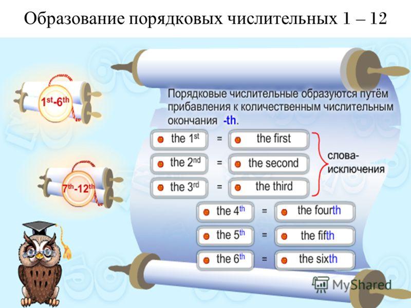 Образование порядковых числительных 1 – 12