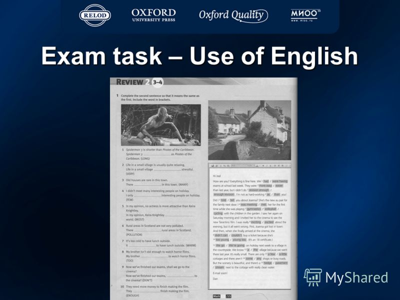 Exam task – Use of English