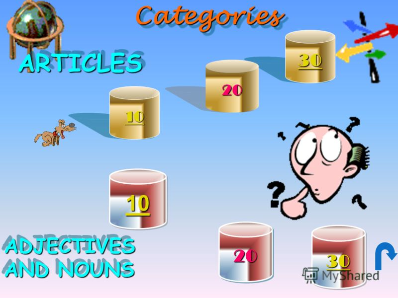 CategoriesCategoriesARTICLESARTICLES ADJECTIVES AND NOUNS ADJECTIVES 10 30 10 20 30 20