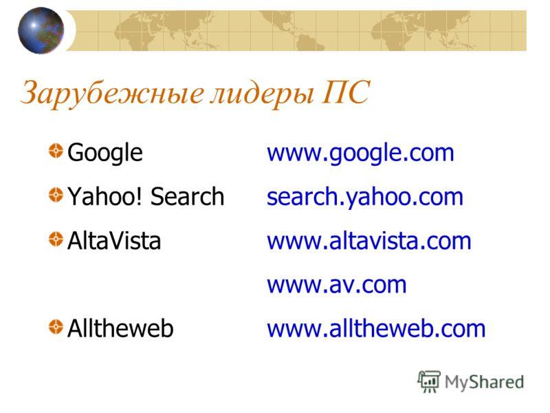 Зарубежные лидеры ПС Google www.google.com Yahoo! Searchsearch.yahoo.com AltaVistawww.altavista.com www.av.com Allthewebwww.alltheweb.com