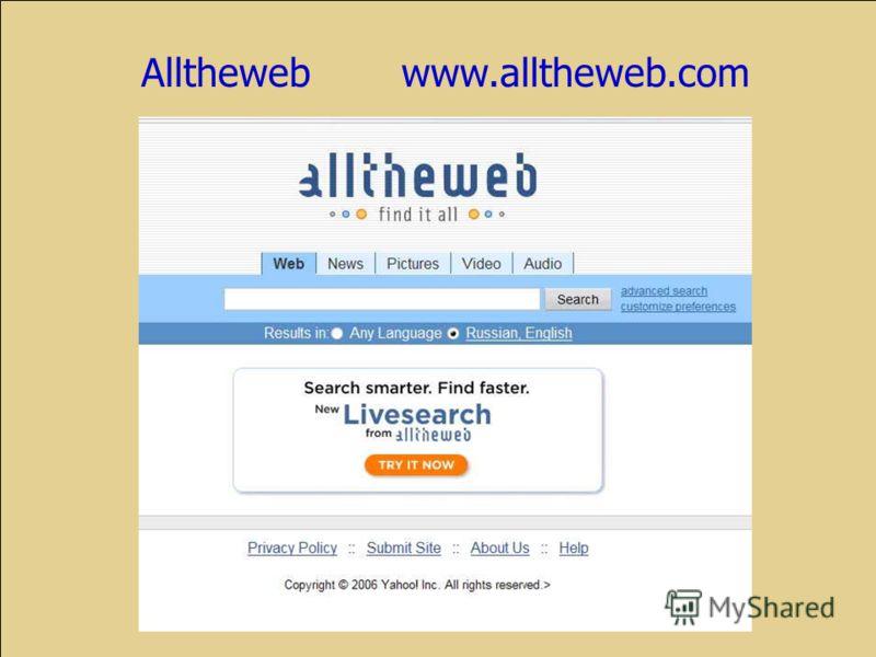 Alltheweb www.alltheweb.com
