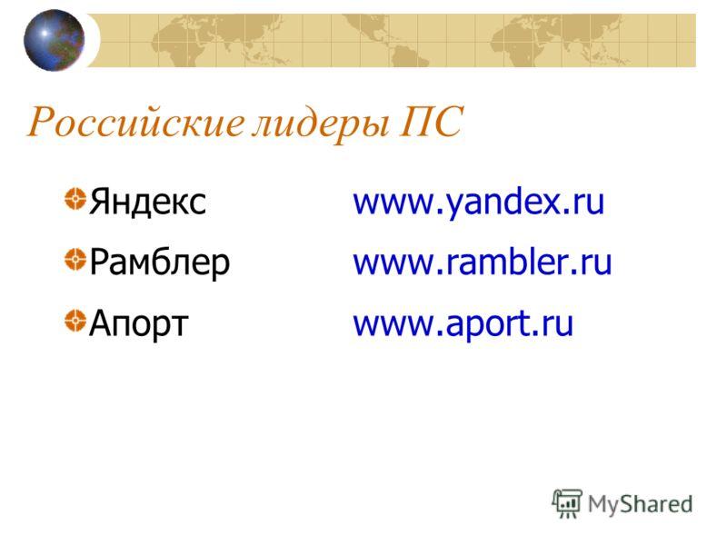 Российские лидеры ПС Яндекс www.yandex.ru Рамблер www.rambler.ru Апортwww.aport.ru