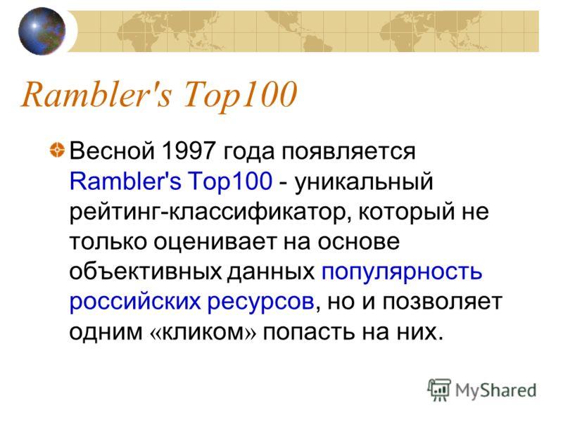 Rambler's Top100 Весной 1997 года появляется Rambler's Top100 - уникальный рейтинг-классификатор, который не только оценивает на основе объективных данных популярность российских ресурсов, но и позволяет одним « кликом » попасть на них.