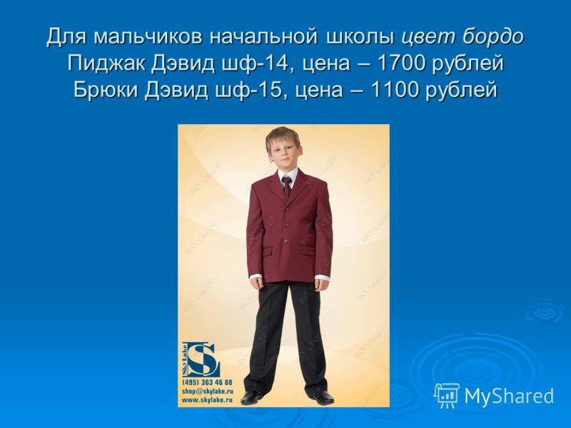Для мальчиков начальной школы цвет бордо Пиджак Дэвид шф-14, цена – 1700 рублей Брюки Дэвид шф-15, цена – 1100 рублей