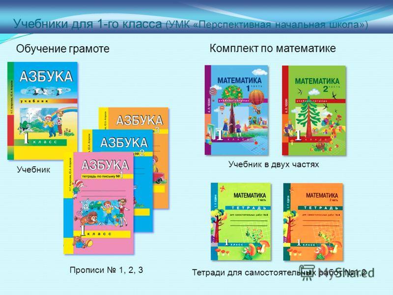 Учебники для 1-го класса (УМК «Перспективная начальная школа») Обучение грамоте Комплект по математике Прописи 1, 2, 3 Учебник Тетради для самостоятельных работ 1,2 Учебник в двух частях