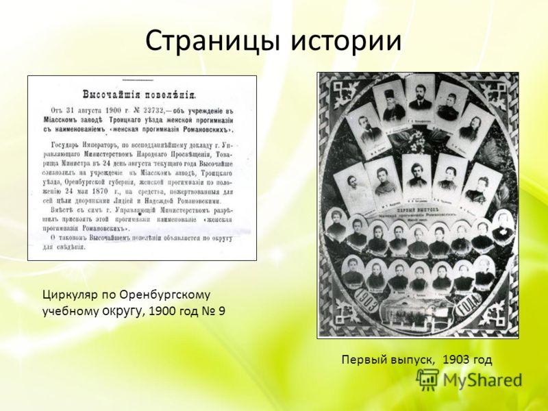 Страницы истории Циркуляр по Оренбургскому учебному округу, 1900 год 9 Первый выпуск, 1903 год