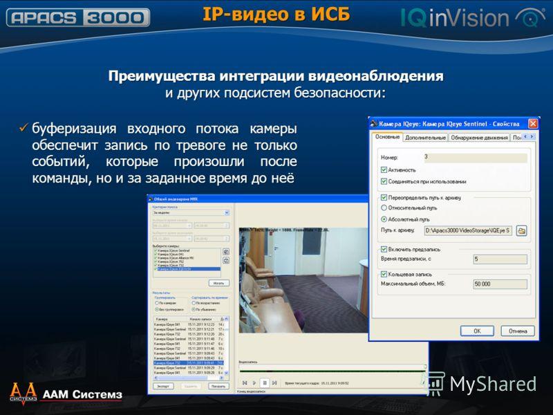 IP-видео в ИСБ Преимущества интеграции видеонаблюдения и других подсистем безопасности: буферизация входного потока камеры обеспечит запись по тревоге не только событий, которые произошли после команды, но и за заданное время до неё буферизация входн