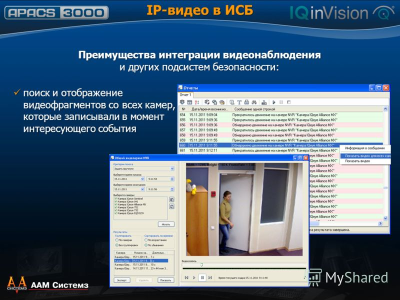 IP-видео в ИСБ Преимущества интеграции видеонаблюдения и других подсистем безопасности: поиск и отображение видеофрагментов со всех камер, которые записывали в момент интересующего события поиск и отображение видеофрагментов со всех камер, которые за