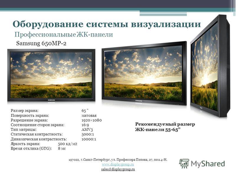 Профессиональные ЖК-панели Samsung 650MP-2 Размер экрана: 65