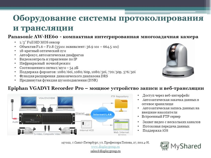 Panasonic AW-HE60 - компактная интегрированная многозадачная камера 1/3 Full HD MOS сенсор Объектив F1.6 – F2.8 (35мм эквивалент: 36.9 мм – 664.5 мм) 18-кратный оптический зум Автофокус, автоматическая диафрагма Видеоконтроль и управление по IP Инфра