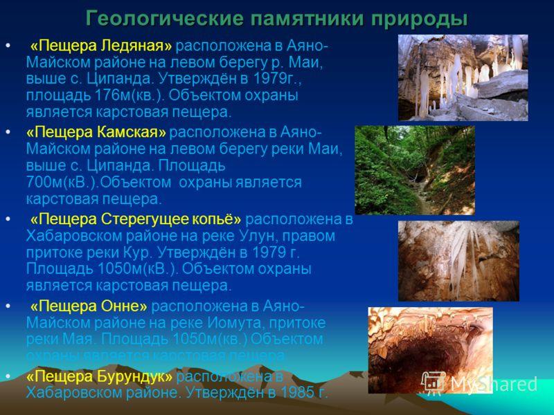 Геологические памятники природы «Пещера Ледяная» расположена в Аяно- Майском районе на левом берегу р. Маи, выше с. Ципанда. Утверждён в 1979г., площадь 176м(кв.). Объектом охраны является карстовая пещера. «Пещера Камская» расположена в Аяно- Майско