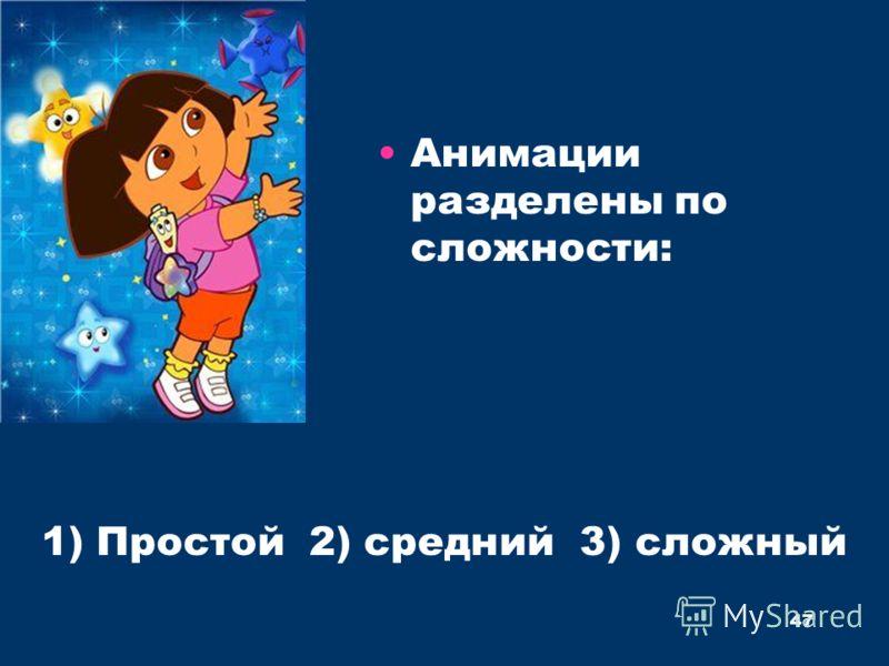 Анимации разделены по сложности: 1) Простой 2) средний 3) сложный 47