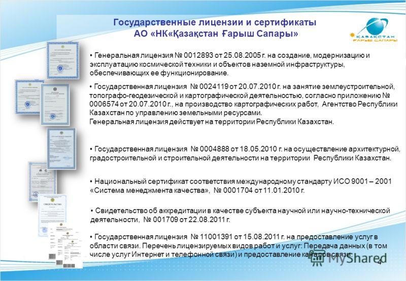 Государственная лицензия 0024119 от 20.07.2010 г. на занятие землеустроительной, топографо-геодезической и картографической деятельностью, согласно приложению 0006574 от 20.07.2010 г., на производство картографических работ, Агентство Республики Каза