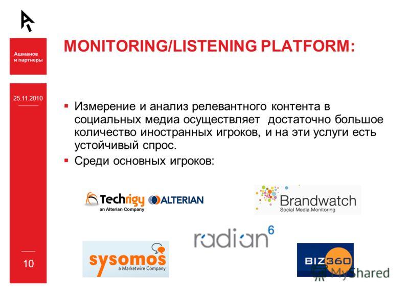 25.11.2010 10 MONITORING/LISTENING PLATFORM: Измерение и анализ релевантного контента в социальных медиа осуществляет достаточно большое количество иностранных игроков, и на эти услуги есть устойчивый спрос. Среди основных игроков: