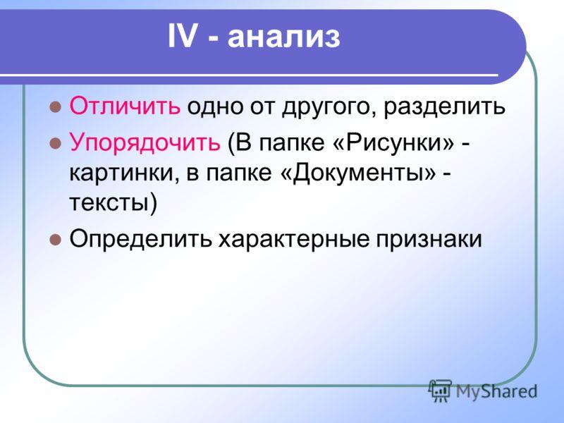 IV - анализ Отличить одно от другого, разделить Упорядочить (В папке «Рисунки» - картинки, в папке «Документы» - тексты) Определить характерные признаки