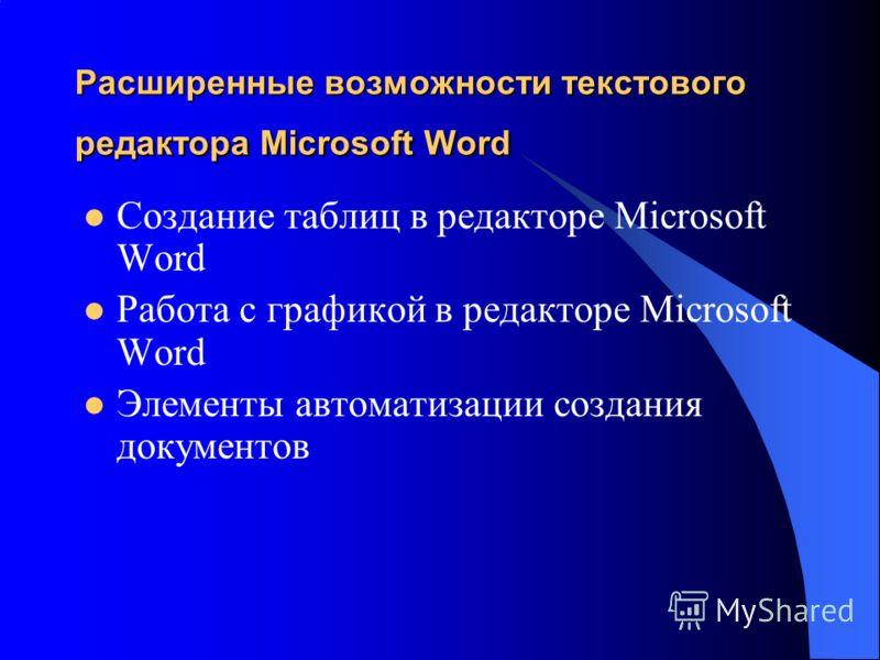 Расширенные возможности текстового редактора Microsoft Word Создание таблиц в редакторе Microsoft Word Работа с графикой в редакторе Microsoft Word Элементы автоматизации создания документов